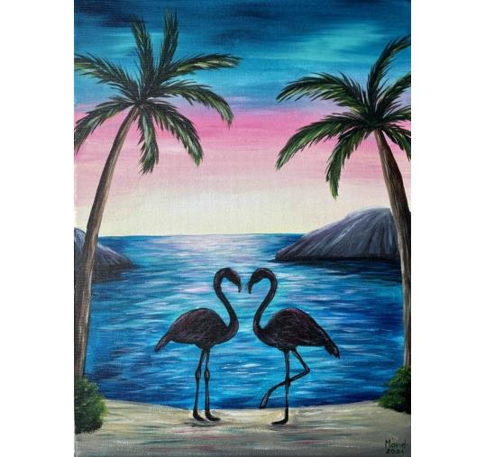 Flamingók élményfestés